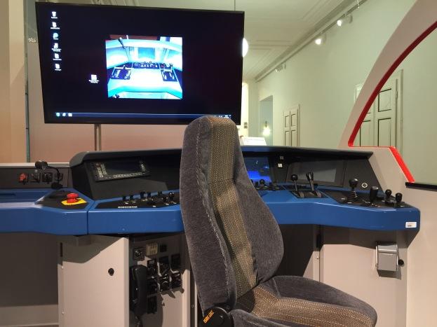 Interior of a train simulator