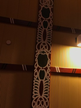 I learned the painted tiles represented food important the Maori - this one is Crayfish, I believe.